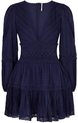 Free People The Delightful Navy Cotton Mini Dress
