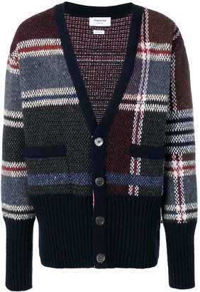 Thom Browne 4-bar Oversized Plaid Cardigan