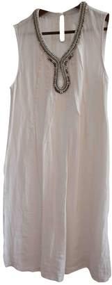 120% Lino White Linen Dress for Women