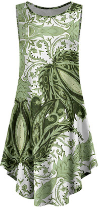 Lily Women's Casual Dresses WHT - White & Olive Floral Curved-Hem Sleeveless Dress - Women & Plus