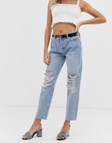 Miss Selfridge recycled denim boyfriend jeans with rips in mid wash