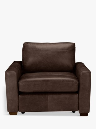 House by John Lewis Oliver Leather Armchair, Dark Leg