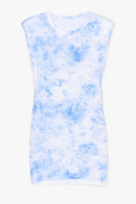 Nasty Gal Womens Be My Baby Tie Dye Shoulder Pad Mini Dress - Blue - One Size, Blue