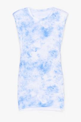 Nasty Gal Womens Be My Baby Tie Dye Shoulder Pad Mini Dress - Blue - One Size
