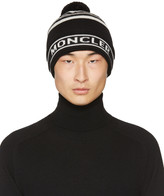 Moncler Black Striped Pom Pom Beanie
