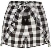 River Island Womens Black gingham print frill shorts