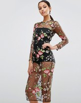Asos Lace Floral Mesh Bodycon Dress with Bodysuit