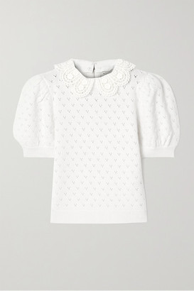 Alice + Olivia Alice Olivia - Annalyn Crochet-trimmed Pointelle-knit Wool-blend Sweater - Cream