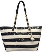 Betsey Johnson Striped Sequined Tote