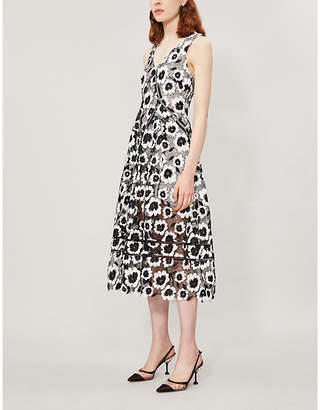 Self-Portrait Abstract floral-print sleeveless crepe dress