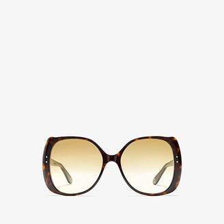Gucci GG0472S (Shiny Dark Havana/Brown Gradient) Fashion Sunglasses