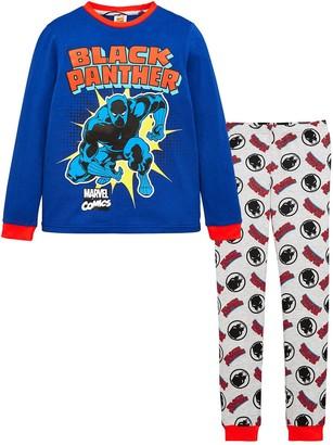 Marvel Boys Black Panther Comic Long Sleeve Pyjamas - Navy