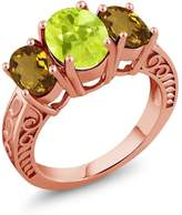 Gem Stone King 3.05 Ct Oval Yellow Lemon Quartz Whiskey Quartz 18K Rose Gold Plated Silver Ring