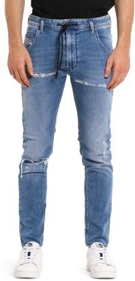 Diesel Krooley Jogg Shredded Slim Straight Jeans