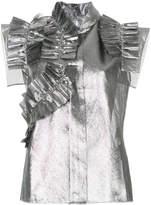 Dice Kayek metallic ruffled shirt