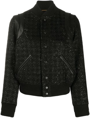 Saint Laurent Sequin-Embellished Bomber Jacket