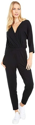 bobi Los Angeles Long Sleeve Surplice Jumpsuit in Draped Modal Jersey (Black) Women's Jumpsuit & Rompers One Piece