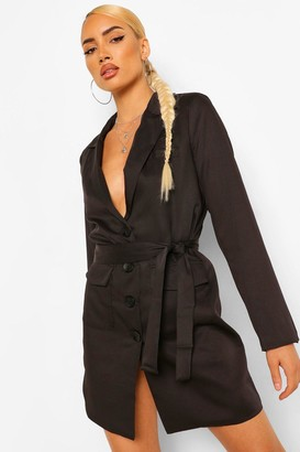 boohoo Belted Blazer Dress With Shoulder Pads
