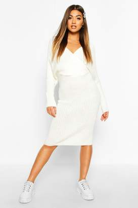 boohoo Wrap Front Batwing Knitted Midi Dress