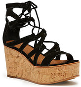 Frye Heather Gladiator Lace-Up Suede Wedge Sandals