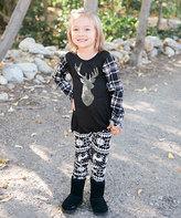 Beary Basics Black Reindeer Tunic & Snowflake Leggings - Toddler & Girls