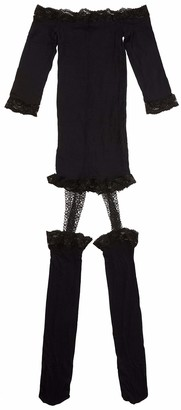 Dreamgirl Women's Off The Shoulder Semi Sheer Black Lingerie Dress One Size
