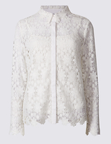 Per Una Floral Lace Long Sleeve Shirt