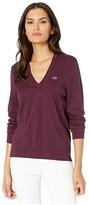 Lacoste Long Sleeve V-Neck Cotton Jersey Sweater (Pruneau) Women's Clothing