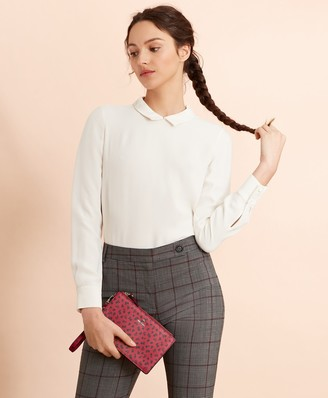 Brooks Brothers Crepe Button-Back Blouse