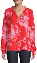 Lord & Taylor Petite Floral-Print Pleated Ruched Top