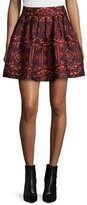 Alice + Olivia Stora Pleated Tribal-Print Skirt, Red/Orange