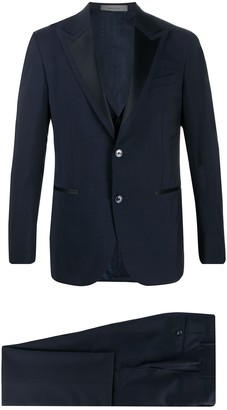 Corneliani Contrast Peaked Lapel Wool Blend Suit Jacket