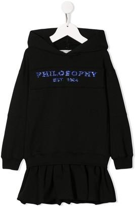 Philosophy di Lorenzo Serafini Kids rhinestone logo hoodie dress