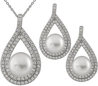 Splendid Pearls Rhodium Plated 7-10Mm Pearl & Cz Necklace & Earrings Set