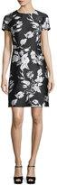 Michael Kors Short-Sleeve Metallic Floral Jacquard Dress, Black