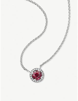 Vashi Halo 18k white-gold, 0.70ct ruby and diamond pendant necklace