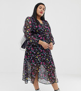 Glamorous Curve wrap midi dress in romantic floral print