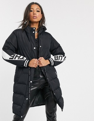 Couture The Club contrast panel longline padded jacket in black