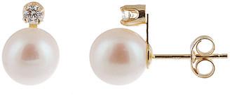 Splendid Pearls 14K Diamond & 7-7.5Mm Akoya Pearl Earrings