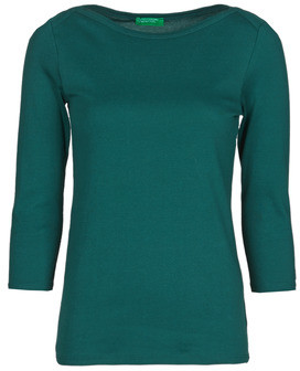 Benetton 3GA2E16A1 women's Long Sleeve T-shirt in Green