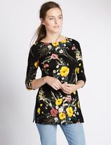 Marks and Spencer Side Split Floral Print 3/4 Sleeve Tunic
