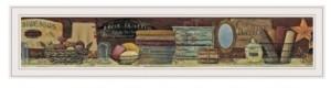 "Trendy Décor 4U Country Bath Shelf by Pam Britton, Ready to hang Framed print, White Frame, 39"" x 9"""