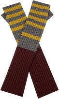 Marni Striped ribbed-knit fingerless gloves