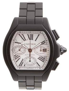 Cartier Roadster 3405 DLC/PVD Coated Stainless Steel Silver Dial 49.2mm Mens Watch