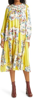 Tory Burch Floral Print Long Sleeve Silk Dress
