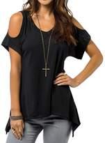 Amstt Women Short Sleeve Shoulder Off Wide Hem Casual Tunic Tops Shirt (XL, )