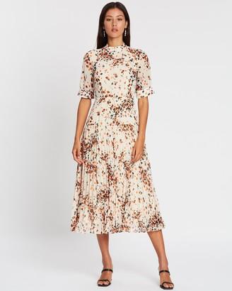 Whistles Mottled Animal Pleated Dress