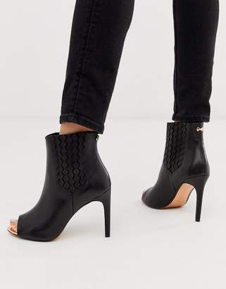 Ted Baker leather peep toe boots-Black