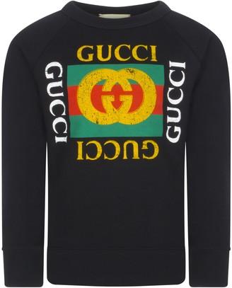 Gucci Black Sweatshirt With Vintage Logo For Boy