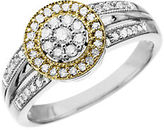 Lord & Taylor Diamond Ring in Sterling Silver with 14K Yellow Gold